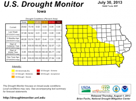 "70 percent of Iowa is ""abnormally dry"" according to USDA."