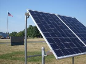 A solar panel installed by Gary Lay, one of the members of the Green Team.