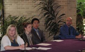 The panelists: Kimberly Rice, Mahrya Carncross, Yong Tang, and Roger Sadler (left to right)