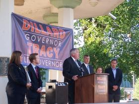 Sen. Kirk Dillard (R-Hinsdale) getting ready to introduce Rep. Jil Tracy (R-Quincy) as his running mate in the 2014 race for Illinois Governor.