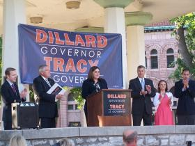 Rep. Jil Tracy (R-Quincy) addresses the crowd after announcing her candidacy for Lt. Governor in Illinois