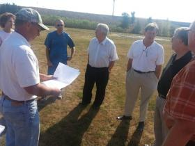 Members of the Lee County Board of Supervisors take a look at the preliminary design of the proposed building.