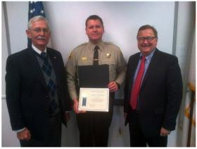 """Newly promoted McDonough County Sheriff's Chief Deputy Justin Lundgren was recognized by the U.S. Attorney's Office for his work on """"Operation Saddle Up""""."""
