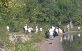 Volunteers at the 2012 Illinois River Sweep (Not in Macomb.)