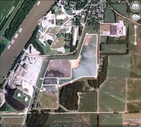 Aerial view of coal ash ponds near Havana, Illinois.