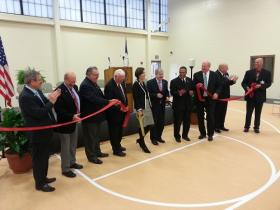 """The ribbon-cutting for the """"Grand Opening"""" of the new Iowa State Penitentiary"""