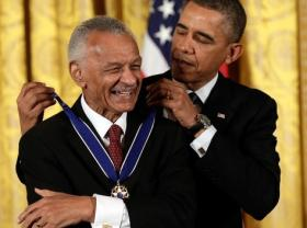 C.T. Vivian receiving the Presidential Medal of Freedom from President Barack Obama.