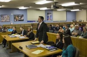 Dylan Gauldin participating in a mock trial at C-SC.