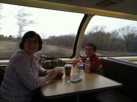 Roberta and Evan Hirstus of Quincy, riding the Great Dome Car on their way to see family in the Chicago area.