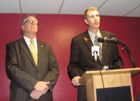 Superintendent Patrick Twomey (left) and Board of Education President Matt Bierman during Monday's news conference.