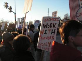 Teachers rallied at Chandler Park on Monday, November 18