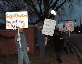 Teachers picketing Thursday morning at Chandler Park
