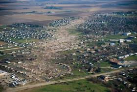 An aerial view of the tornado's path through Washington, Illinois.