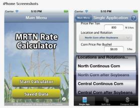 The iPhone version of University of Illinois Extension's nitrogen application app.