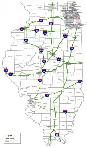 This Illinois Department of Transportation map shows where the speed limit increases to 70 mph as of January 1, 2014.