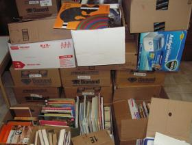The books collected in the past month by the Macomb chapter of the 3Rs Project.