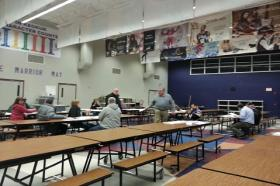 About 20 Democrats caucused at Keokuk Middle School Tuesday night.