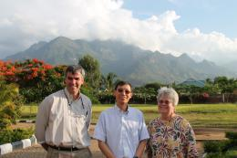 Iowa State University scientists Jack Dekkers (left) and Sue Lamont traveled with Huaijun Zhou (center) of the University of California, Davis, to Morogoro, Tanzania. They met with their collaborators on a USAID-funded project to improve chicken genetics in Africa.