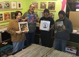 "Iron Orchard in the vintage vinyl store ""Bad Kitty Music"" promoting their new release ""For Amusement Only""."