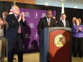 Governor Pat Quinn and WIU President Jack Thomas at the announcement