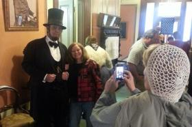 President Lincoln (Max Daniels) poses for a photo.
