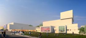 Architects rendering of the exterior of the Center for Performing Arts