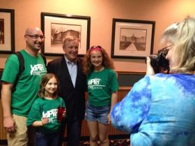 Senator Dick Durbin poses with supporters at Aurelio's in Macomb.