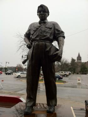 The Sandburg statue during its unveiling