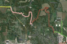 An archeological study is underway on the portion of the Flint River Trail highlighted in pink.