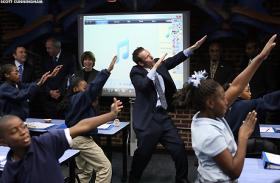 Ron Clark Academy founder Ron Clark with students during an event showing off the school to NHL Commissioner Gary Bettman in 2007.