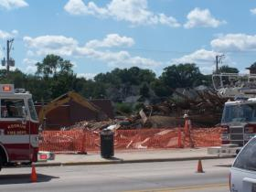 The city had to tear down the portion of 528 Main Street that did not collapse on July 31, 2009.