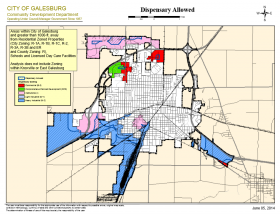 Where dispensaries would be permitted in Galesburg.