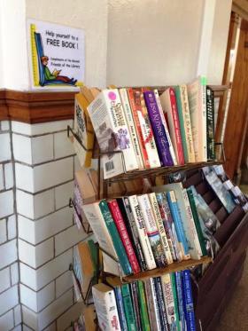 Free Book Rack at Macomb Amtrak Station