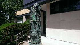 Sculpture in front of Hainline Theatre.