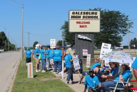 Galesburg teachers picket outside the high school on what was supposed to be the first day of school.