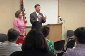 Representative Norine Hammond and Senator John Sullivan speak to McDonough County's Interagency Council.