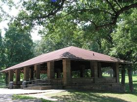 The stone shelter in Glenwood Park was a WPA project from the Great Depression.
