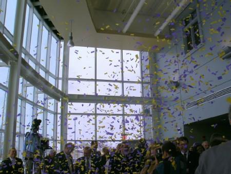 The confetti drops as WIU opens the first building of its riverfront campus in the Quad Cities