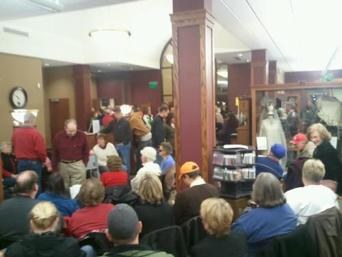 Inside the West Point Public Library on Caucus Night.
