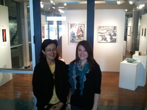 Debra Scoggin-Myers (L) and Melissa Moon stand before the Mabee Art Gallery at Culver-Stockton College in Canton, MO.