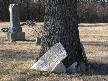 Some broken headstones have been piled up against a tree in the graveyard