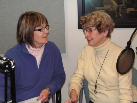 Becky Parker (left) and Sally Egler in the Tri States Public Radio newsroom