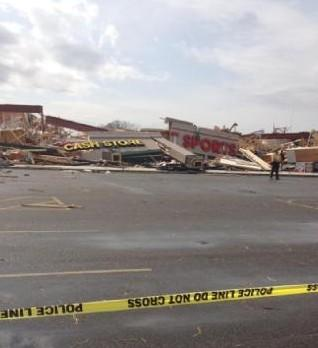 A view of the damage caused by the tornado
