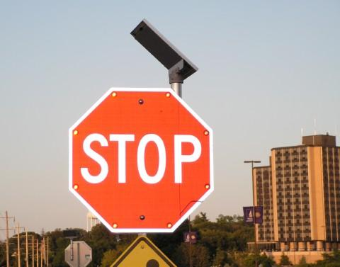 One of the solar powered LED traffic signs on the WIU campus