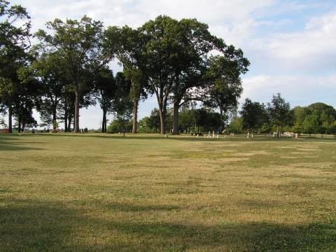 A view of the donated land. The Old Macomb Cemetery can be seen in the background.
