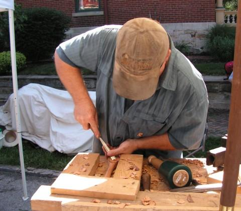 Woodworker John Weyer in action