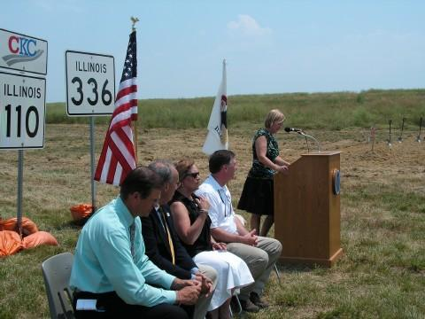 IDOT Secretary Ann Schneider at the podium during the groundbreaking ceremony