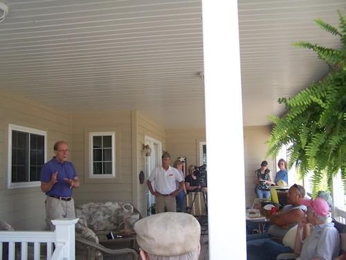Rep. Dave Loebsack (D-IA 2) addresses a group of farmers in Lee County.