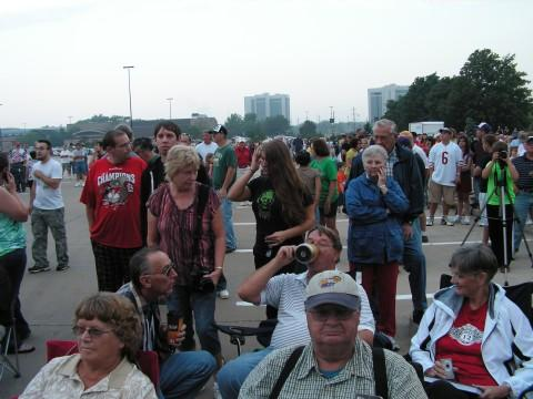 A crowd gathered in Q-lot to watch the implosion