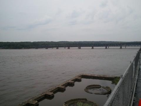 A view of the railroad and vehicle bridges from the Ameren Missouri power plant in Keokuk.